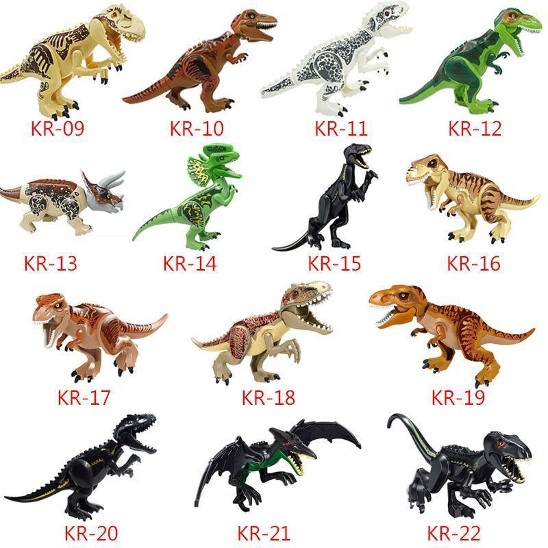 Büyük Dinozor Yapı Taşları 3D Montaj ABS Plastik Dunosaur Minyatür Aksiyon Figürleri OPP Ambalaj Jurassic Park Çocuklar için Dinozor Dünyası