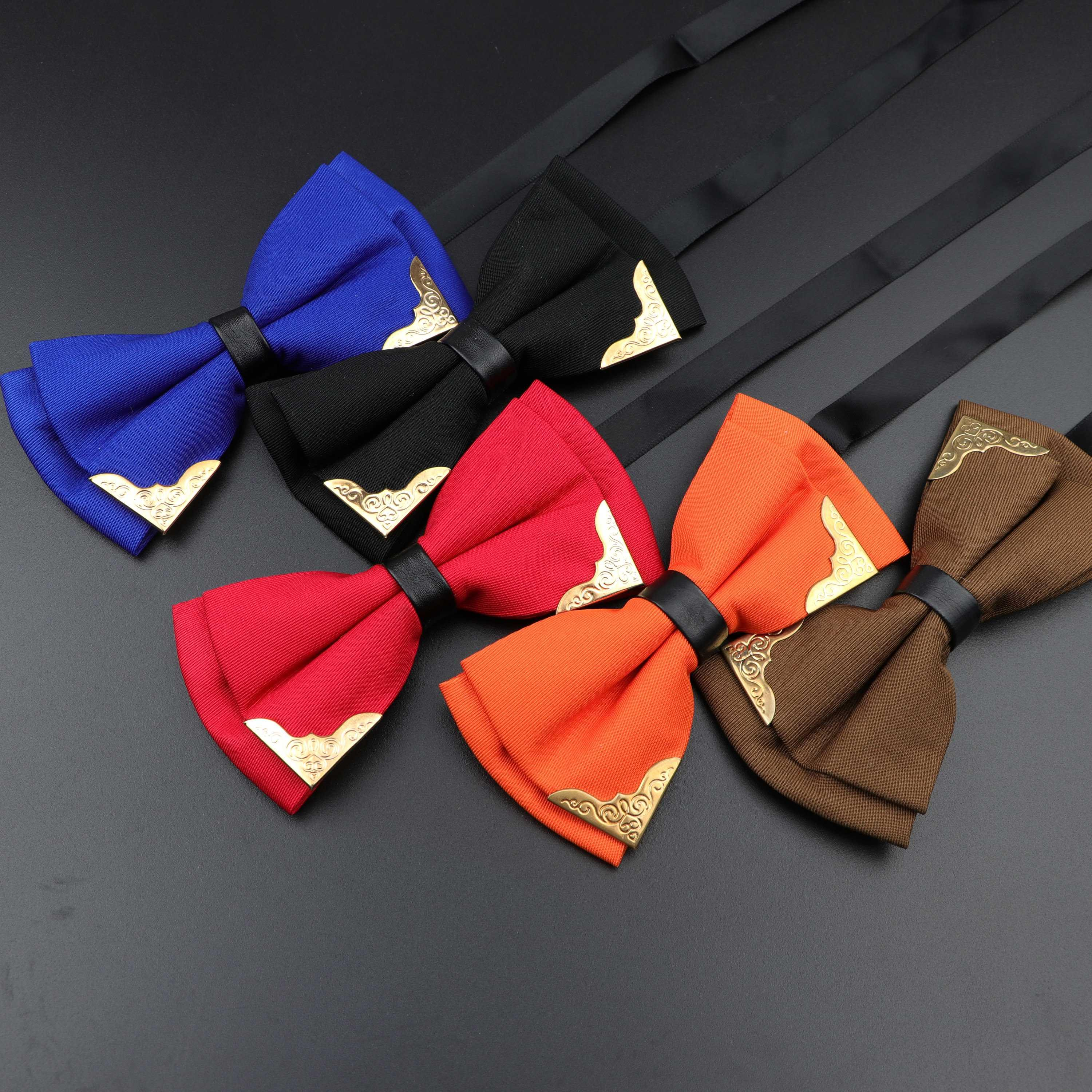 No Brand Mens Polyester Bow Tie Double-deck Orange Pink and Black Pack Of 2