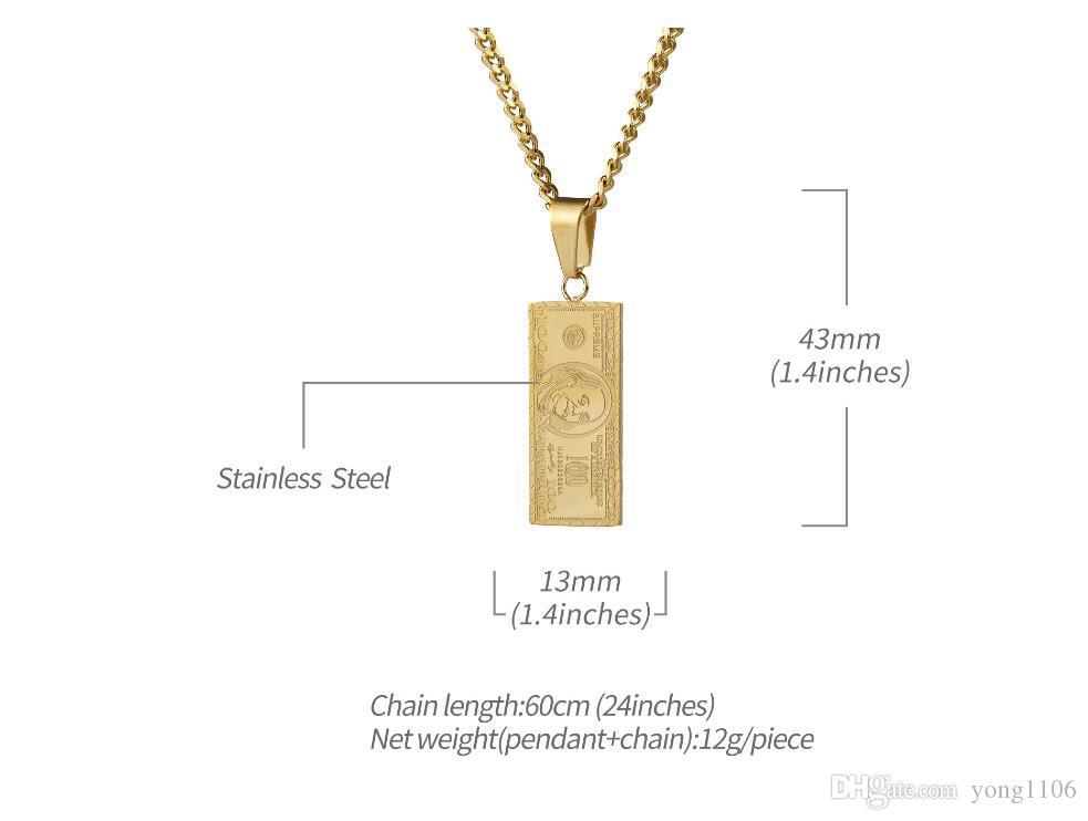 Moda europea y americana tendencia hip-hop baile hip-hop $ 1 millón de accesorios de acero inoxidable retro con collares chapados en oro para hombres