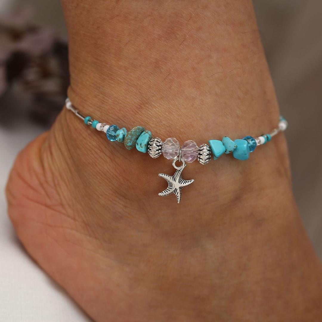 Bohemio estrella de mar perlas de piedra para el tobillo para las mujeres BOHO pulsera de cadena de color plata en la pierna tobillo playa joyería 2019 nuevos regalos