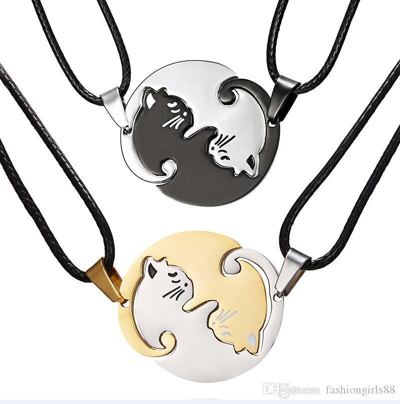 Collier en gros Pendentif Chat en acier inoxydable Couples Chats Colliers Collier Brochage breloque chat animal commun pour les amoureux Cadeaux Bijoux
