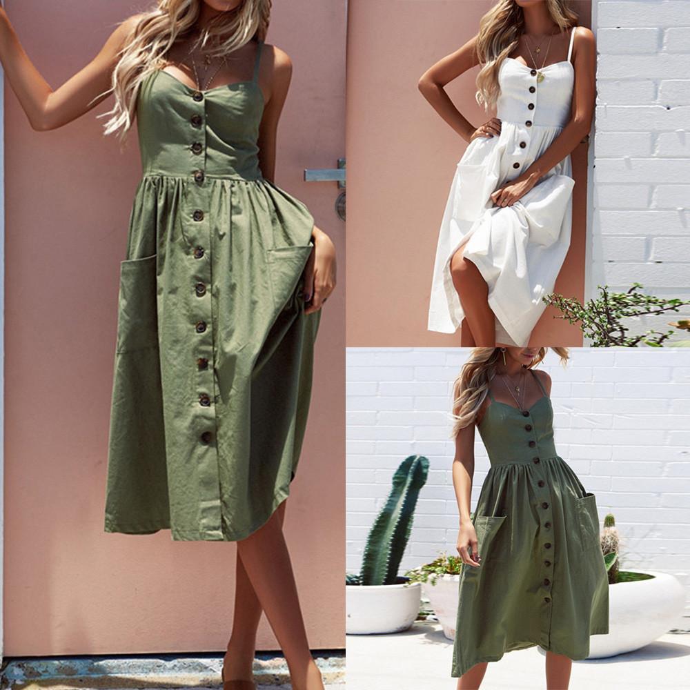Frauen-Sommer-Sexy Buttons Kleid Fest weg Schulter Sleeveless süßes Kleid elegant vintage Prinzessin midi Kleid Robe femme