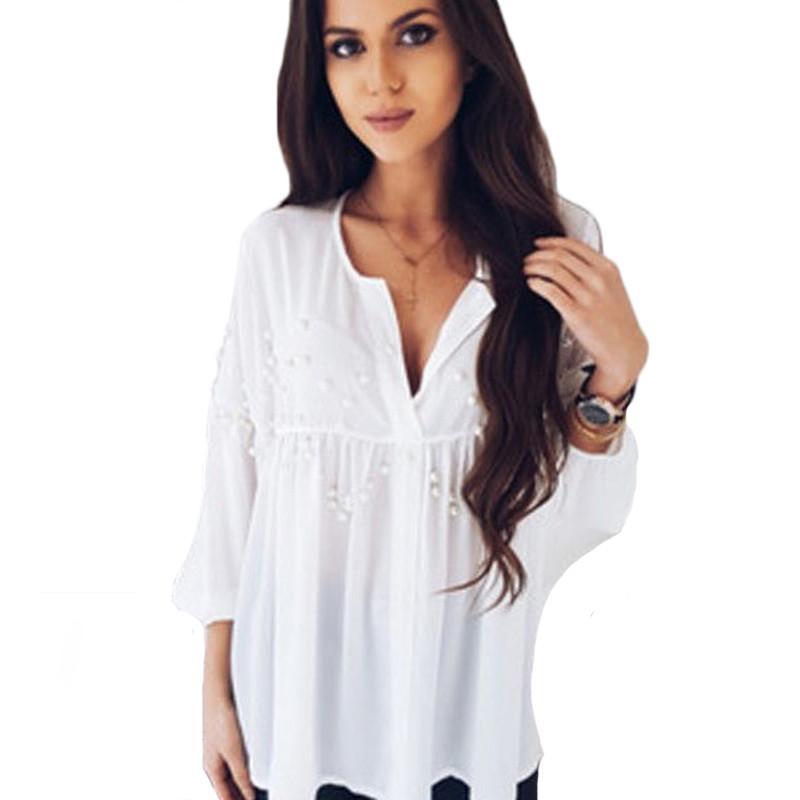 Bianco donne eleganti camicette camicie di moda primavera-estate 2018 Nuovo Perle Maglie a manica lunga con scollo a V allentato OL per abbigliamento femminile
