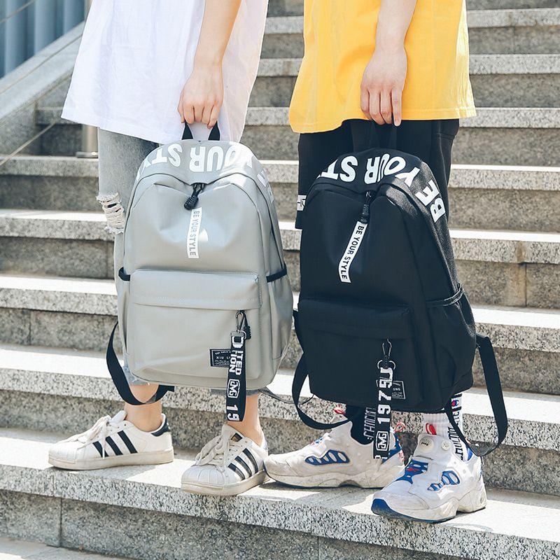 Men Stylish Letter Printed Laptop Backpacks for Teenagers Girls School Backpack Female Bookbag Women Casual Travel Bags Mochila T200326