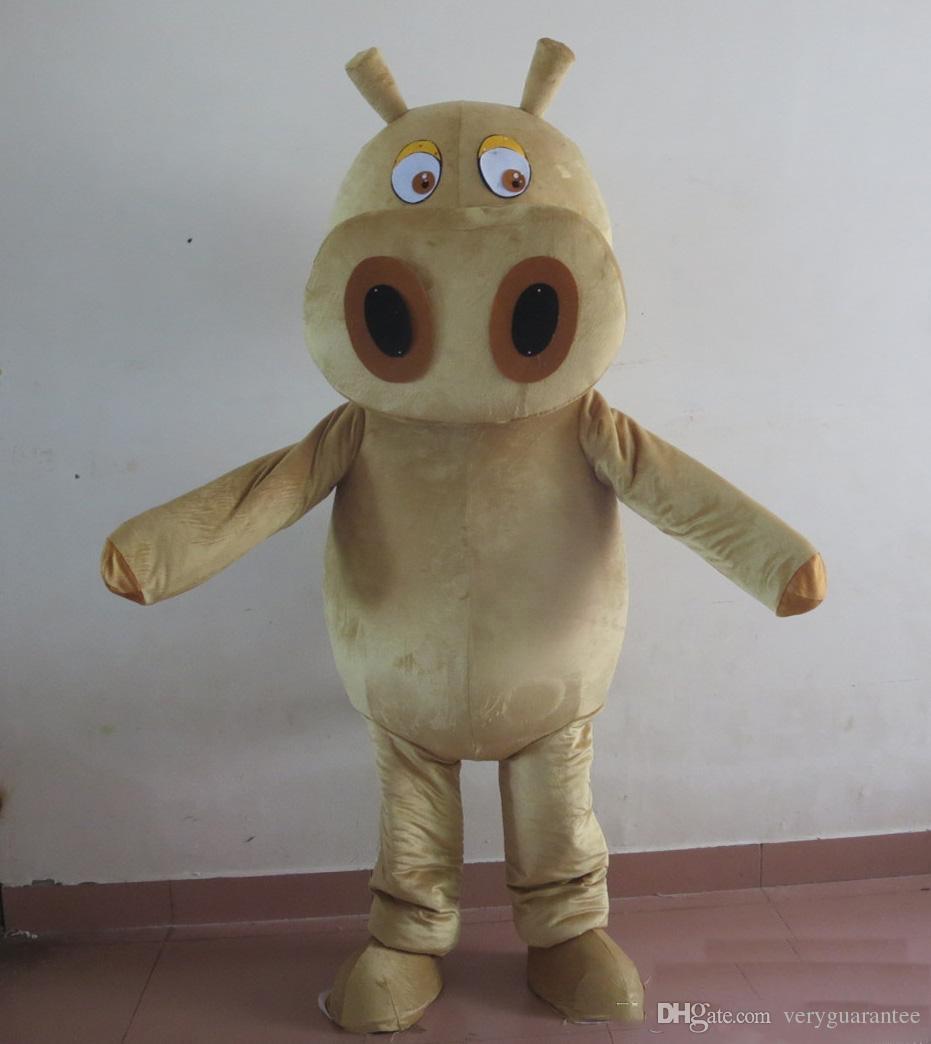 2019 высокое качество горячая голова коричневый бегемот костюм талисмана для взрослых носить для продажи