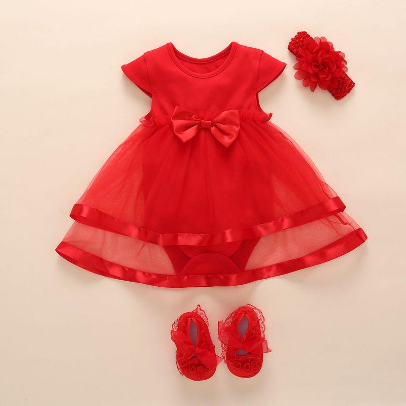 2019 New Born Baby Girl Dress Romper Summer Kids Bow Tulle Princess Dress Wedding For Girl 0 1 2 Year Birthday Christening Dress Y19050801