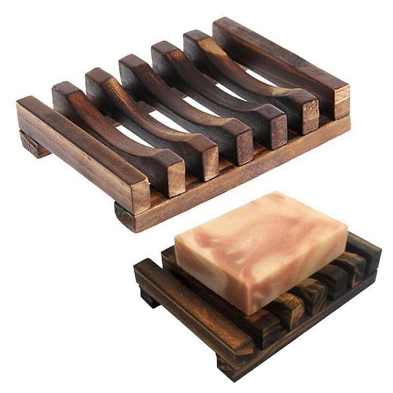 Sapone di legno naturale del piatto del supporto del vassoio di immagazzinaggio di sapone cremagliera Piastra Box Contenitore per vasca da bagno doccia Piatto vassoio 50pcs IIA110