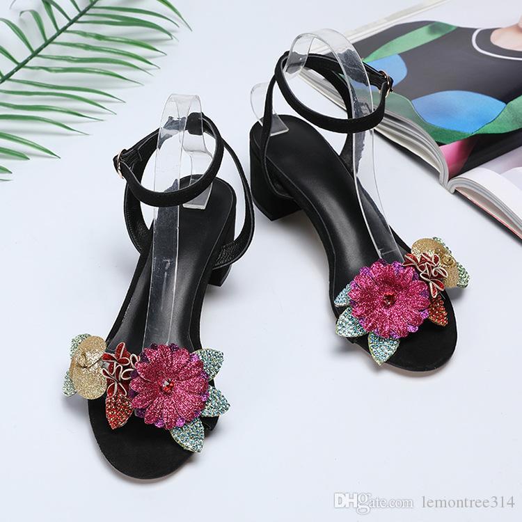 Frauen Blume Sandalen Aus Echtem Leder Chunky Ferse Sandale Offene spitze Freizeitschuhe Schnalle Schwarz Sandale XW85