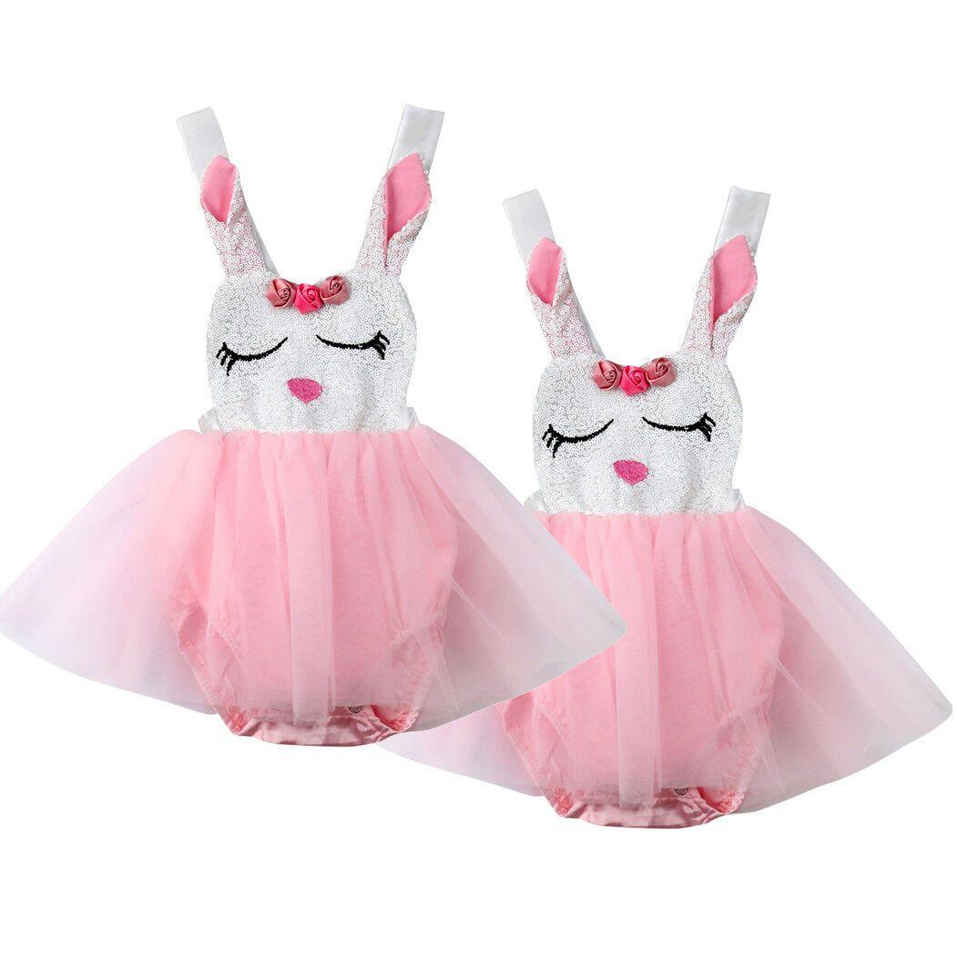 Bebek Bebek Kız Tavşan Dantel Prenses Romper Elbise Tutu Parti Resmi Elbiseler