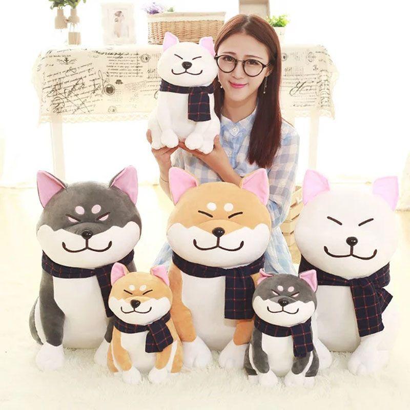 Nuevo estilo 25/45 cm al por mayor amantes bufanda perro juguetes de peluche lindo Shiba Inu perro muñeca de tela niños para regalo de cumpleaños