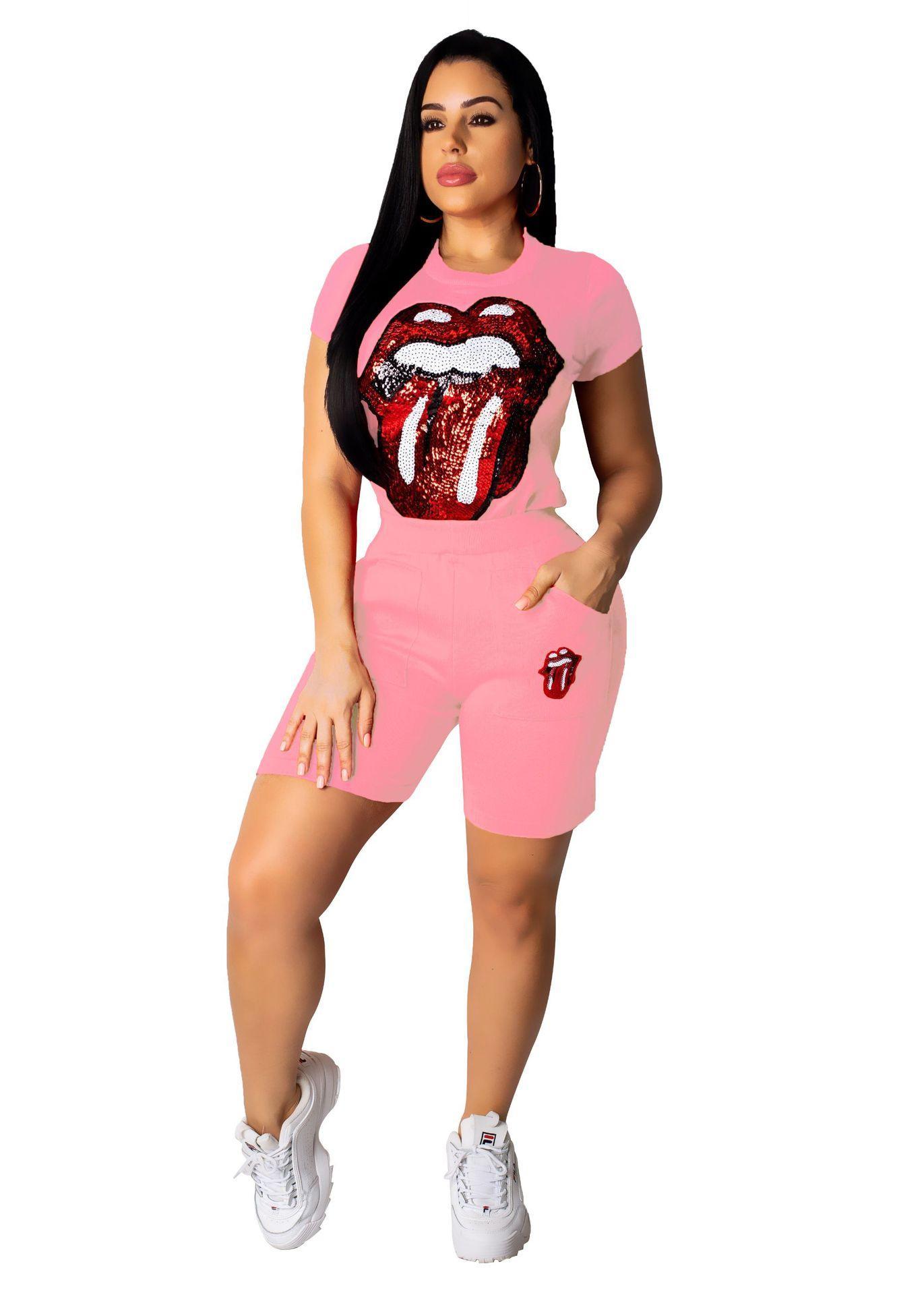 A8329 европейских и американских женская износ 2019 женская мода случайные глаза губы блестками круглый шею длинным рукавом костюм