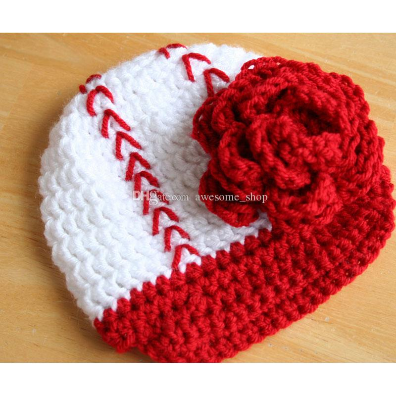 Adorable Baseball Hat,Handmade Knit Crochet Baby Girl Softball Beanie with Flower,Sports Hat,Infant Newborn Photo Prop