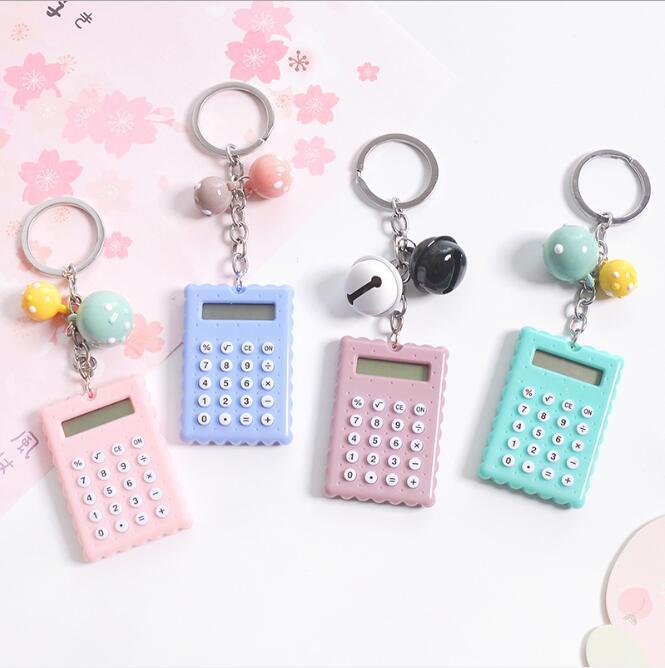 Perline Cat Biscotti Pocket Calcolatrici Mini Student campana Portachiavi Aritmetica Unità calcolatore portatile del computer per ufficio di banco HA530