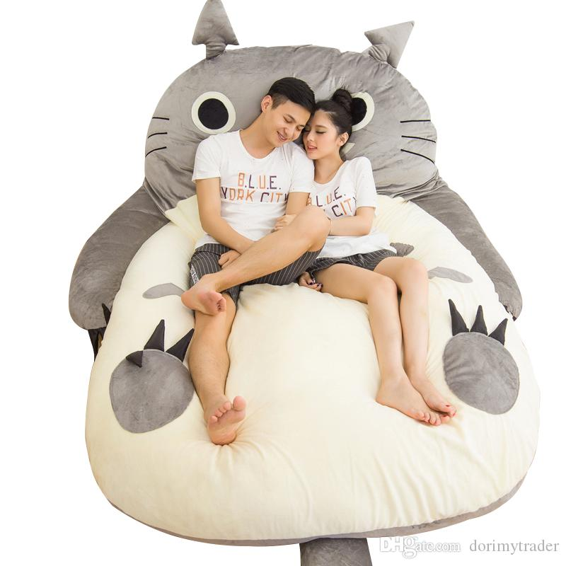 Dorimytrader Kids Anime Totoro Bed Bag Soft Plush Tatami Cartoon Sleeping Pop Large Beanbag Mattress And Adults Gift DY61004 Ithlf