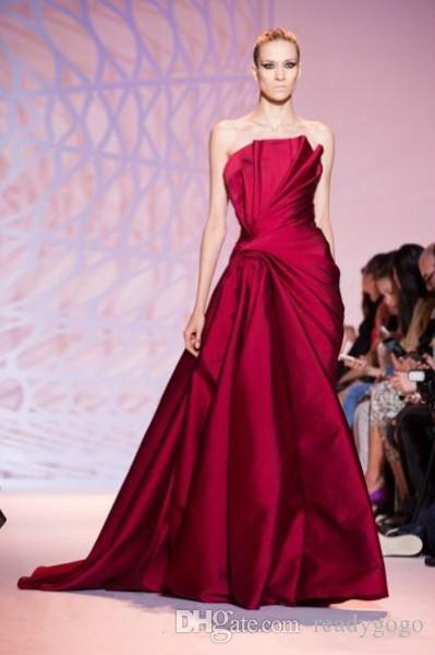 Zuhair Murad Strapless Prom Formal Dresses 2019 Modest Haute Couture Floor Length Long Formal Dark Red Occasion Evening Red Carpet Gown