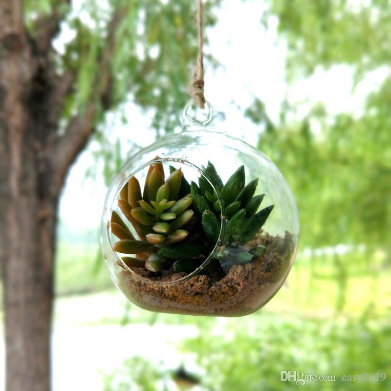 Terrarium décoratif suspendu créatif en verre suspendu de vase en verre d'air, globe décoratif en verre clair, terrarium suspendu d'air 100pcs / lot