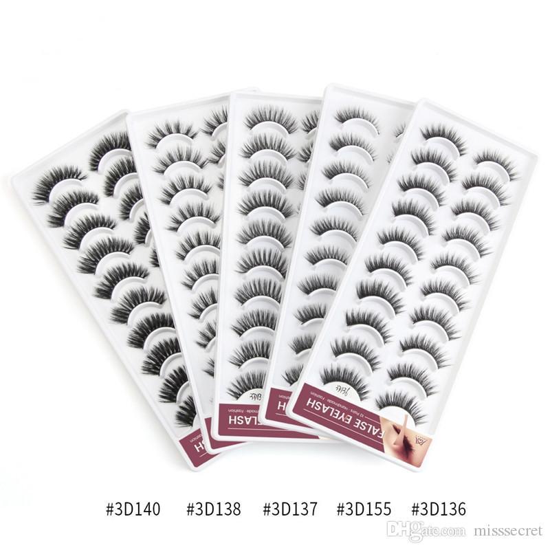 10 paires de cils maquillage faux faux cils 3d vison naturel faux cils extension de cils faux cils vison