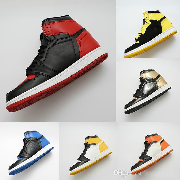 Los zapatos del diseñador 1 zapatos para hombre de OG baloncesto Chicago 1S 6 MID Nuevos anillos de las mujeres zapatillas de deporte del dedo del pie Bred Formadores Amor UNC deporte Zapatos Tamaño 36-47