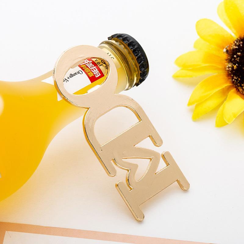 Presentes Popular casamento abridores I Do Letter design de metal Garrafas Opener para o Dia dos Namorados cor dourada 3 8lta E1
