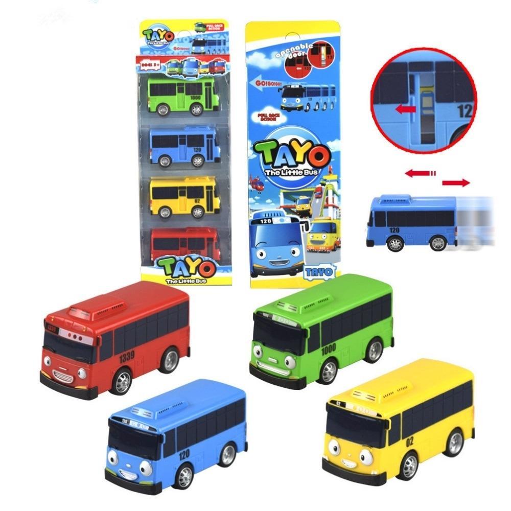 4pcs/set Korean Cartoon TAYO the Little Bus Araba Oyuncak Car Model Pull Back Toy Car Kids Brinquedo Birthday Gift Door Can Open SH190910