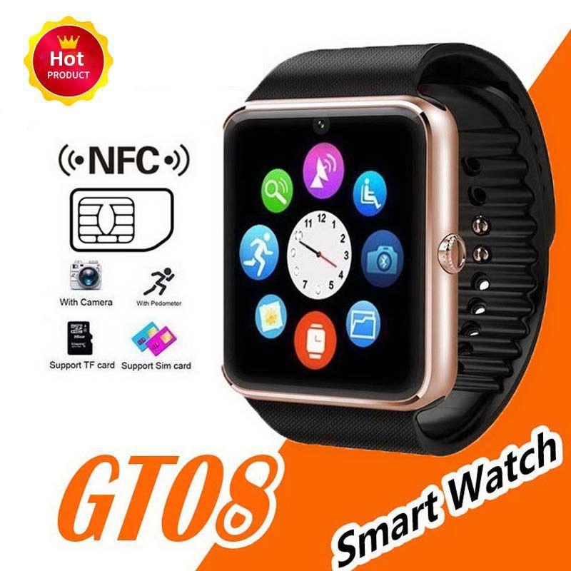 Smart watch gt08 relógio sincronizador de suporte notificador sim tf cartão conectividade telefone android smartwatch liga smartwatch