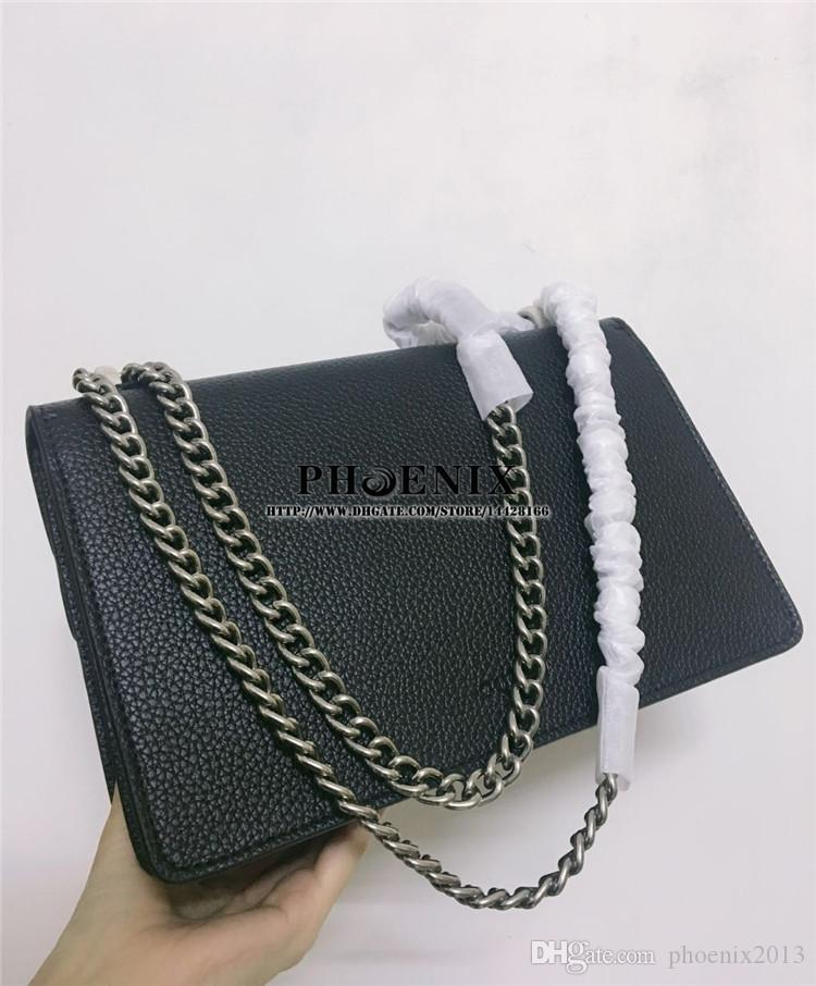 5A high quality Dionysuss Small Crystal Trim chain bag real Leather Shoulder Bag Tiger head closure diamond Dust Bag gift package for women