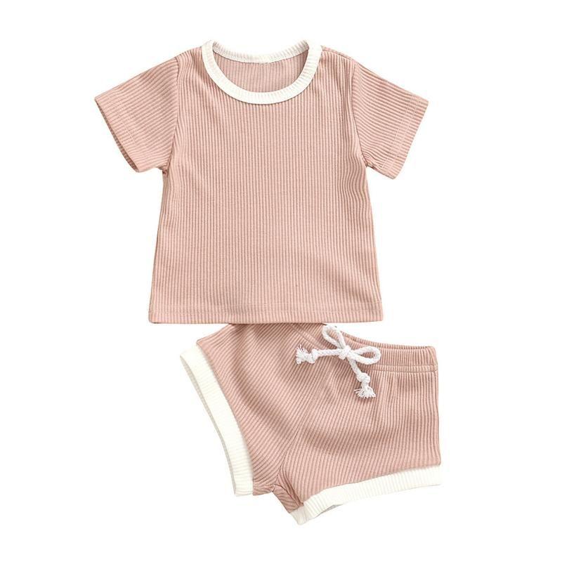 Лето Девочки Одежда Установить Повседневная мода Короткие рукава O шеи футболки Топы с кулиской Шорты Симпатичные новорожденных Одежда Набор