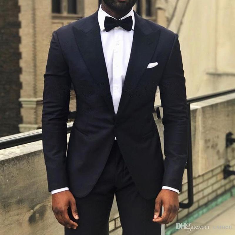 Custom Made Black Men Suit Wedding Formal Dress Peaked lapel suits for Best Men Blazer Groomsmen Prom 3 Pieces Tuxedos Jacket Pants Vest