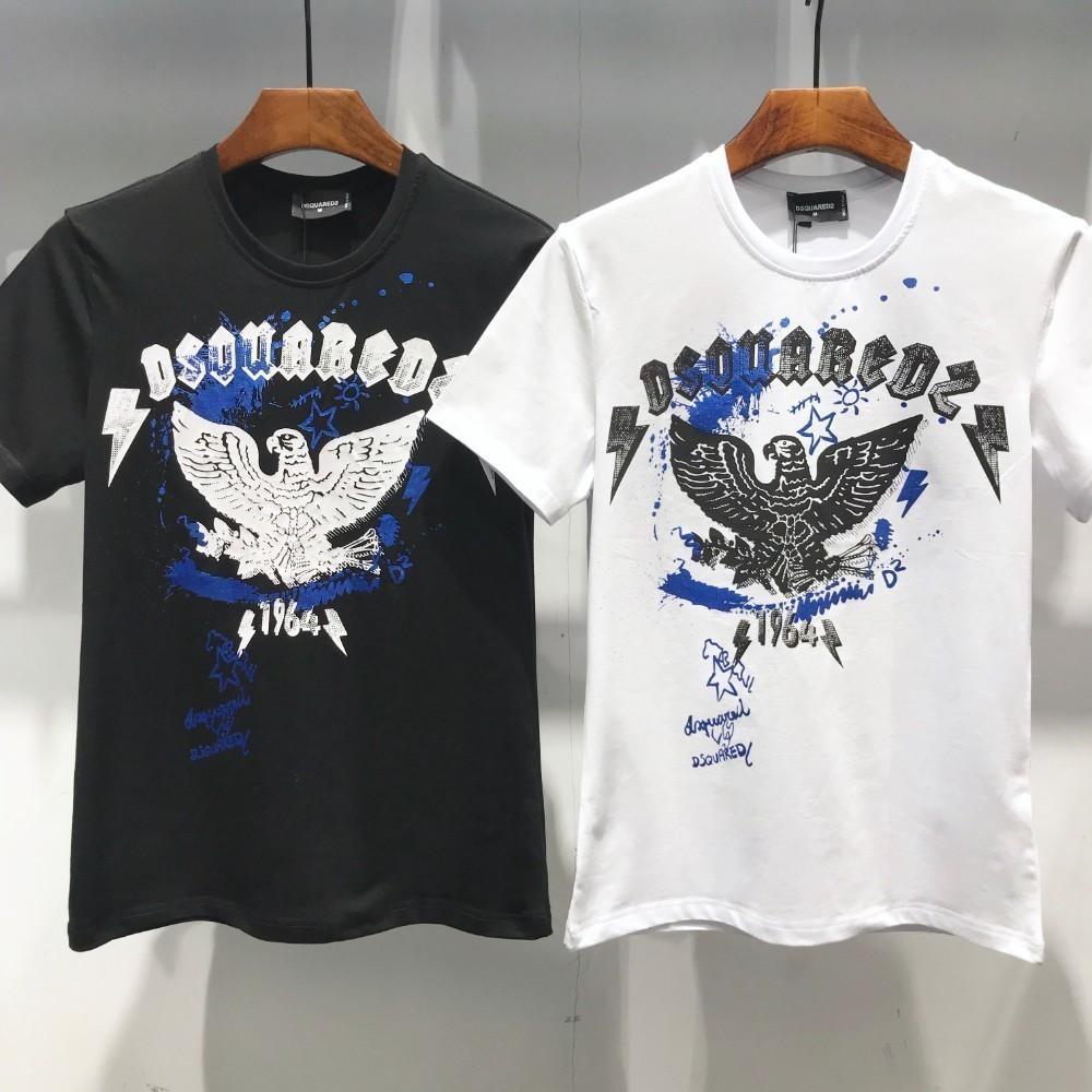 Verão Europeu Moda Casual Gola Redonda Homens Manga Curta T T-shirt Masculina Algodão Puro