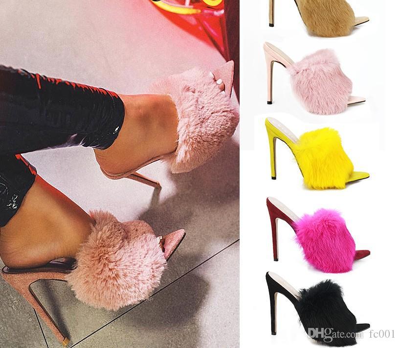 Lüks Kürklü Slayt Sandalet Ayakkabı Kadın Yaz Kabarık Kürk Yüksek Topuklar Peep Toe Kadınlar Yüksek topuk 11cm Kadın Seksi Düğün Ayakkabı pompaları
