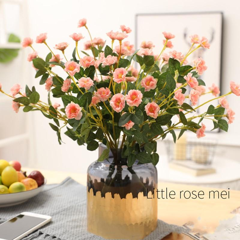 Artificial Silk Flowers Bouquet for Home Decoration Small Rose Fake flowers Wedding Table Centerpiece Decor