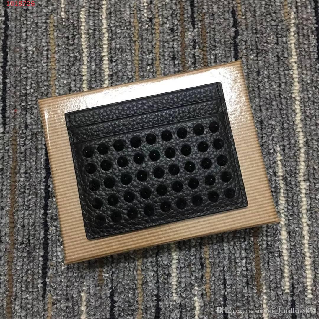 Luxury Designer Hommes Chio Porte-cartes en cuir véritable noir doublé en rouge poche plat bourse Spikes ID Card Case avec la boîte
