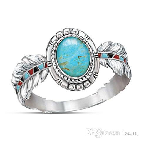 Ready Stock Luxurious Oval Turquoise Gemstone Ring Womens Bohemian Feather Style 925 Silver Ring Jewelry Gifts for Party Anniversary