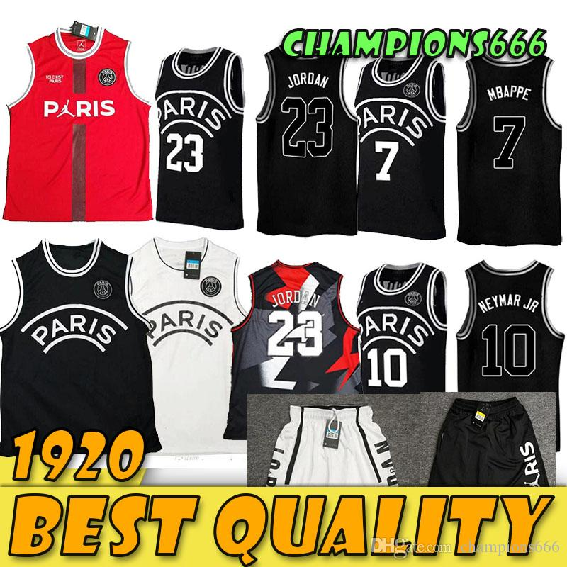 2019 2020 PSG باريس جيرسي 23 مايكل JD 7 MBAPPE باريس كرة السلة الفانيلة PSG X AJ كرة السلة جيرسي Jordam باريس جرمة
