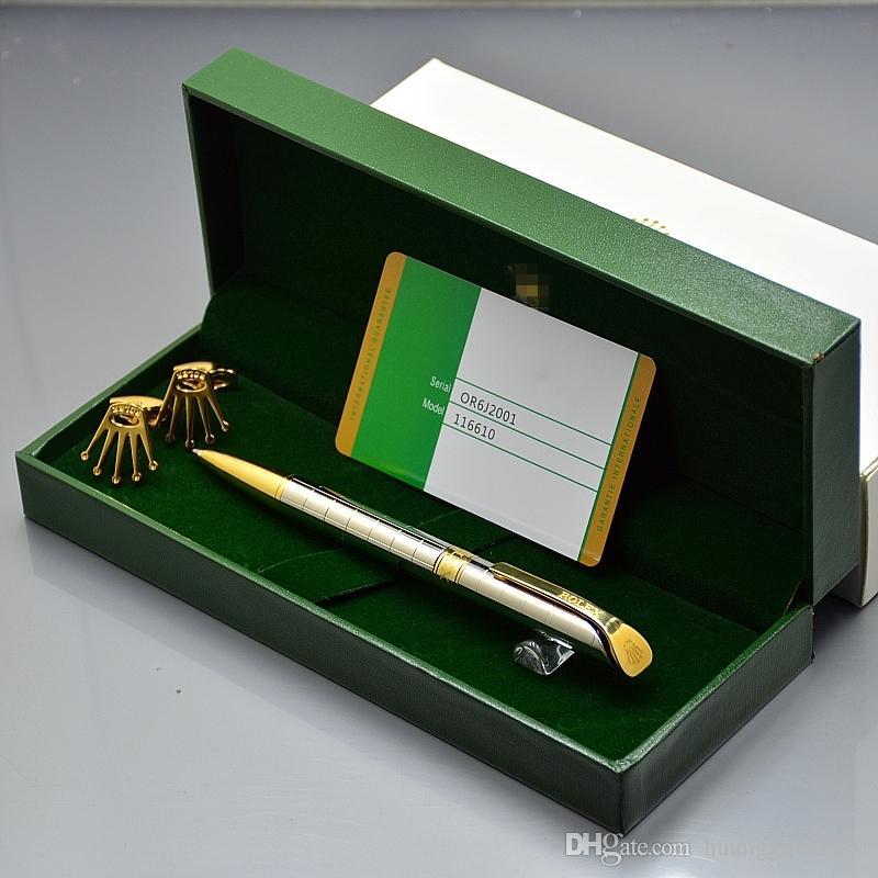 Best Christmas gift - Top High quality Rlx Branding Ballpoint pen + Man Shirt Cufflinks For Men Jewelry Cuff links with Original Box Packing