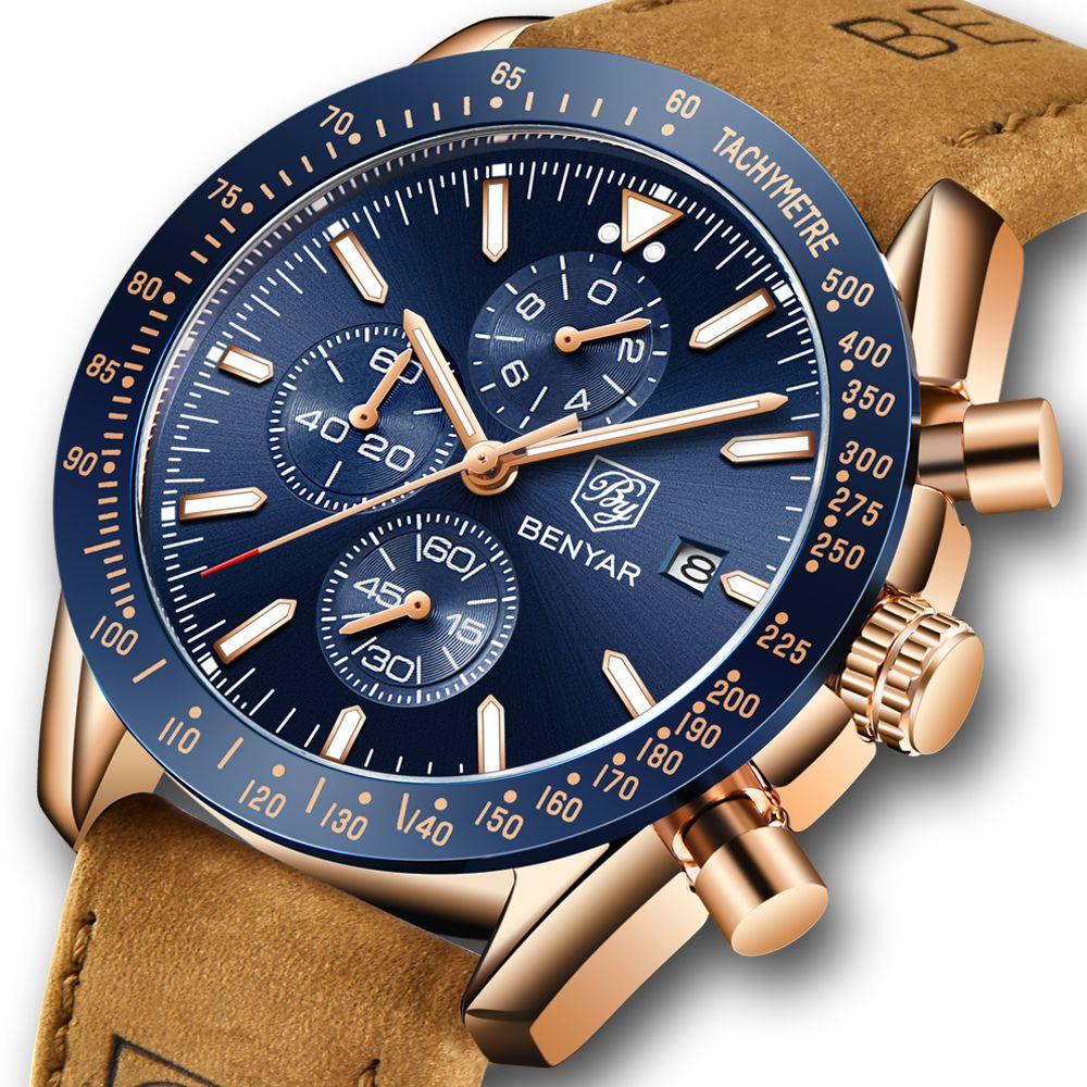 Montres Hommes Marque de luxe bracelet en cuir étanche Sport Chronographe à quartz Casual Montre Homme Horloge Montres-bracelets cadeau