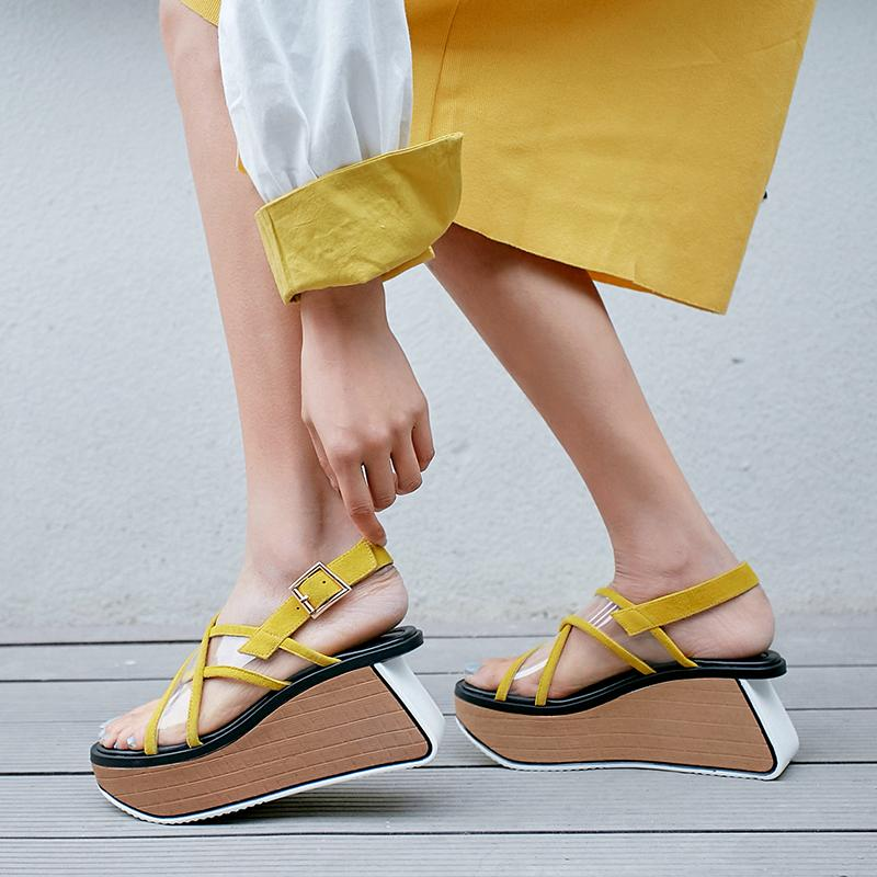 Platform Wedge High Heels Sandals Female Real Genuine Leather Ankle Fashion Women Party Office Shoes Pvc Clear Platform Shoes