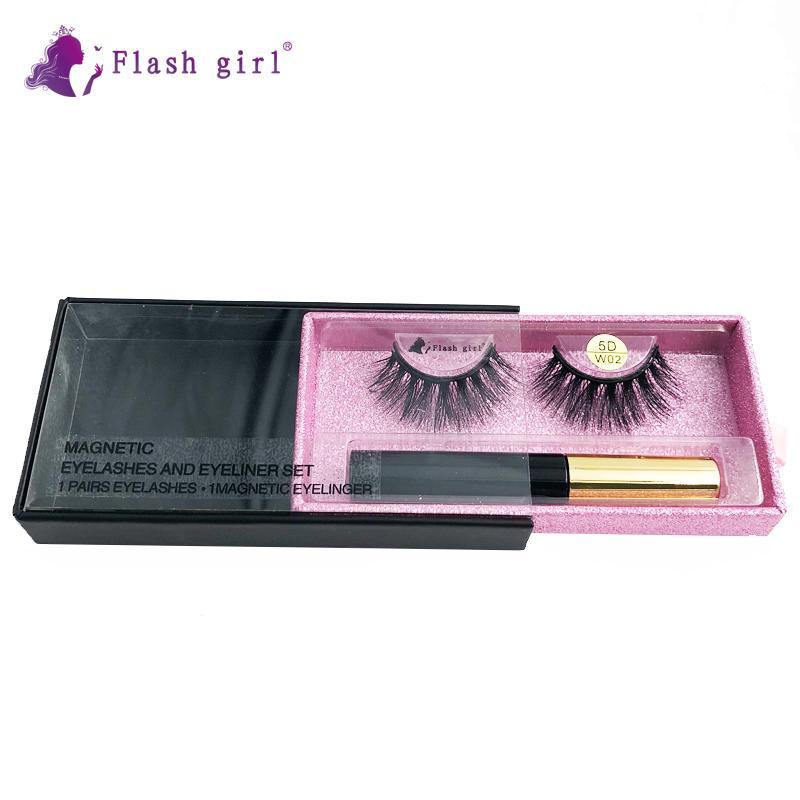 Flash Girl alta calidad 1pair 5D visón pestañas magnéticos caja de lujo magnéticos ojos líquido magnéticos pestañas falsas y las pinzas de 5D-W02