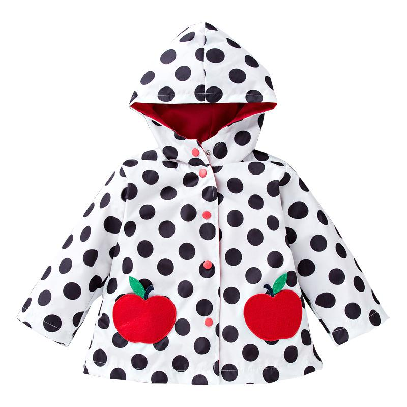 الأطفال صامد للريح الاعتداء المطر سترة واقية بنات الأطفال ارتداء سترة لطيف كبيرة نقطة موجة الفتيات أبل معطف واق من المطر أو سترة واقية