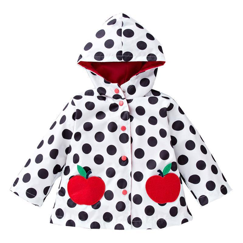 어린이 여자 스포츠 용 재킷의 일종 비 공격 방풍 어린 이용 재킷 귀여운 큰 파도 포인트 애플 여자를 착용 비옷 또는 스포츠 용 재킷의 일종