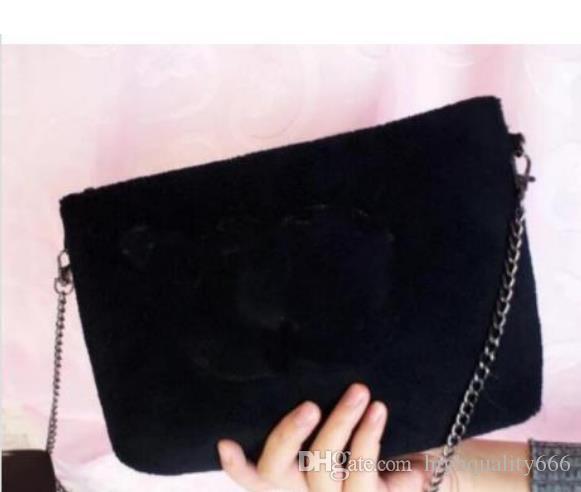 2019 Nuova borsa di velluto di buona qualità con motivo classico Con catena di trucco di moda catena nera famosa borsa da festa borsa a tracolla in flanella regalo vip