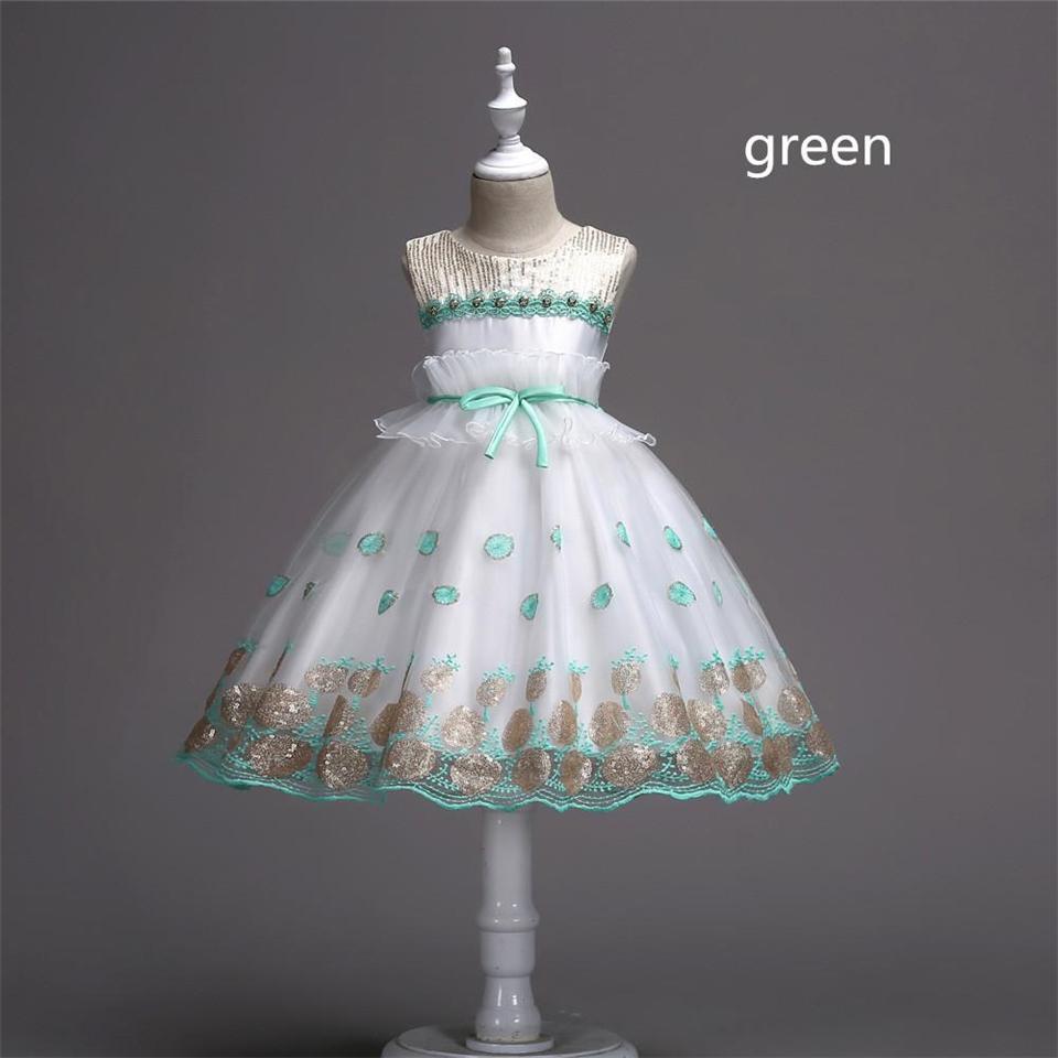 -Tulle-Blumenmädchenkleider mit Perlen verziert Kinder Ball gewachsen Bow Ruffles Partei Brautkleider für Mädchen Knie-Länge Geburtstag Mädchen