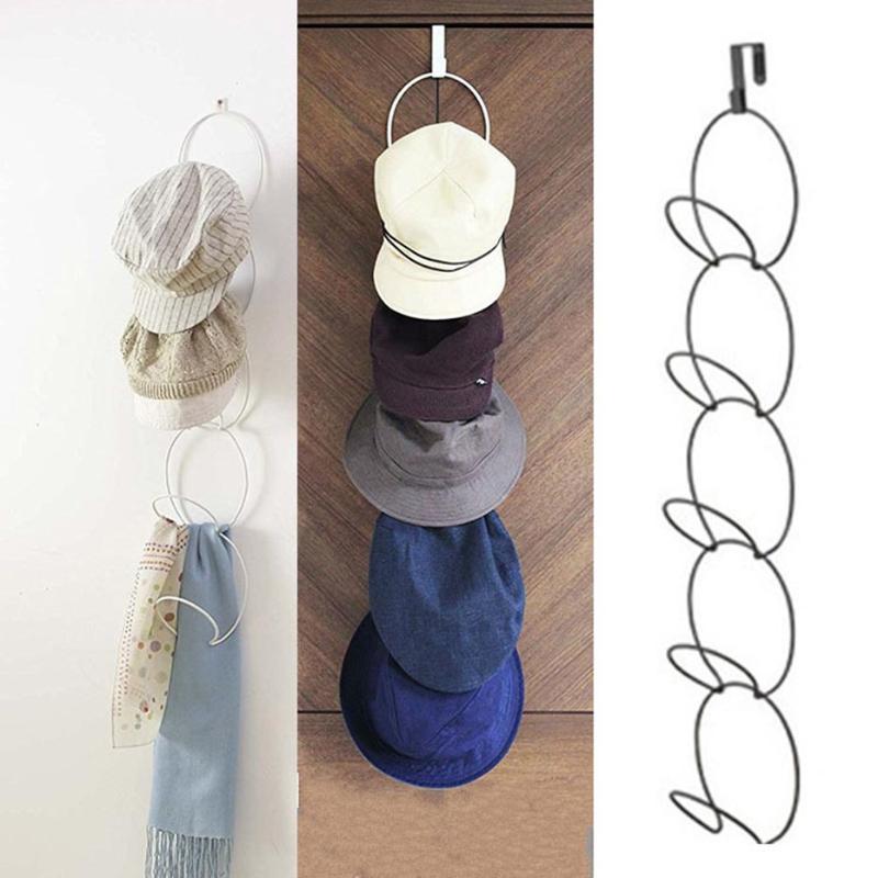 Мульти Layers Бейсболка Стеллаж для хранения Nail Free Hat шарф Подвесной стеллаж с 5 Loops хранения Вешалка для крышек