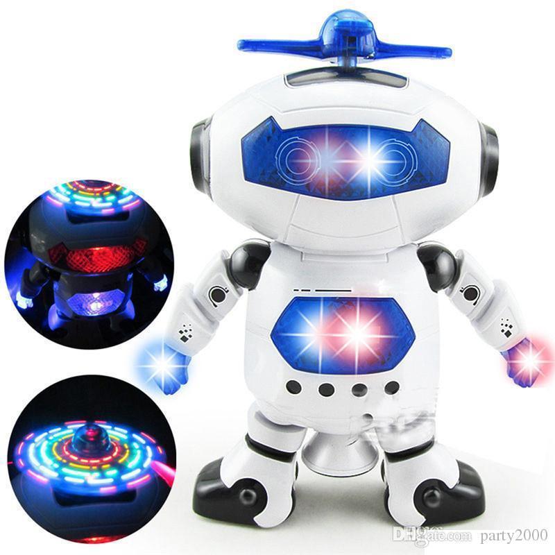Los niños espacio Bailarín humanoide robot de juguete con la luz para mascotas Brinquedos Electrónica Jouets Electronique para los juguetes para niños Boy