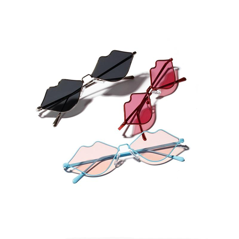 Mincl / moda lábios sexy das mulheres Óculos de sol Personalidade Trends Sun vidros coloridos metal protetor solar decorativa óculos YXR