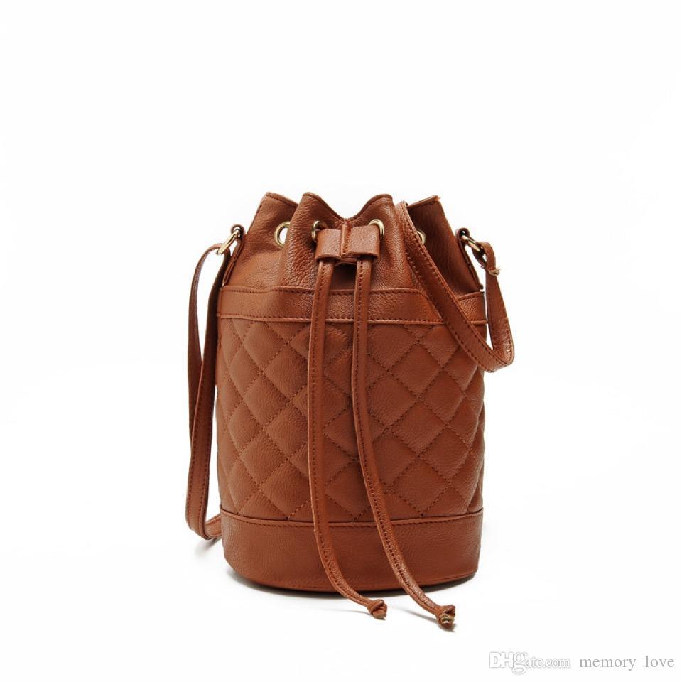 Rhombus Bucket 6colors PU Leather Round Shoulder Handbag Crossbody Bag For Fashion Women Mini Candy Color Drawstring Satchel
