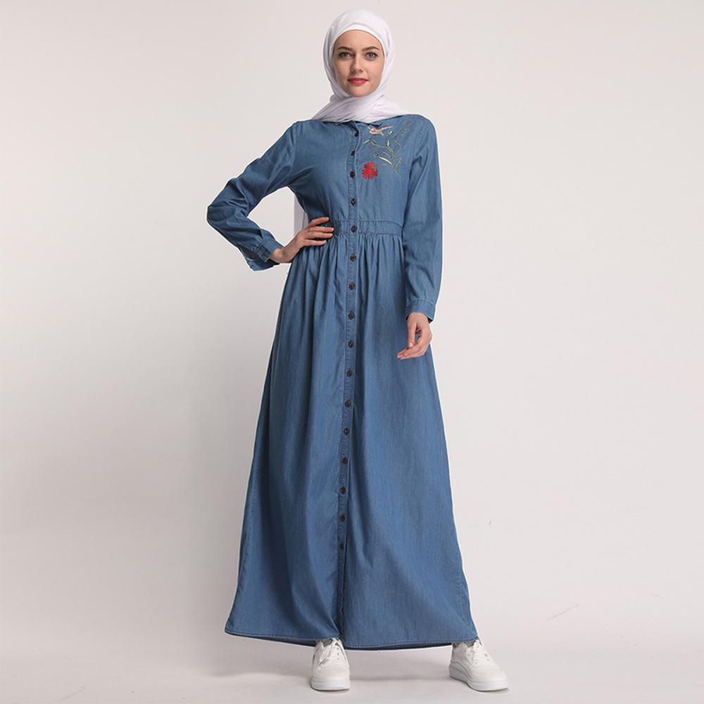Denim Kaftan Abaya Dubai Islam Cardigan Hijab Muslim Dress Abayas For Women Qatar UAE Oman Caftan Robe Turkish Islamic Clothing