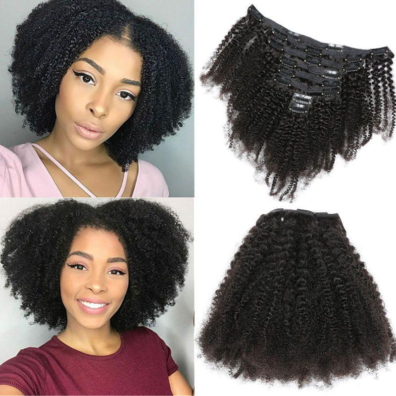 Mongol humana Virgin cabelo Africano americano cabelo encaracolado afro Kinky clipe não transformados em extensões de cabelo 120 gramas Grampos pretos Remy naturais