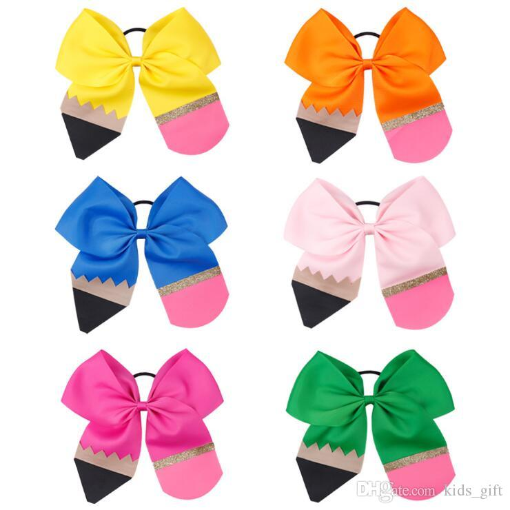 Kids bow hair accessories 6 colors Back To School Girl Handmade Thread hair loop Color Stitching Pencil Floral Headdress hair bows KJY620
