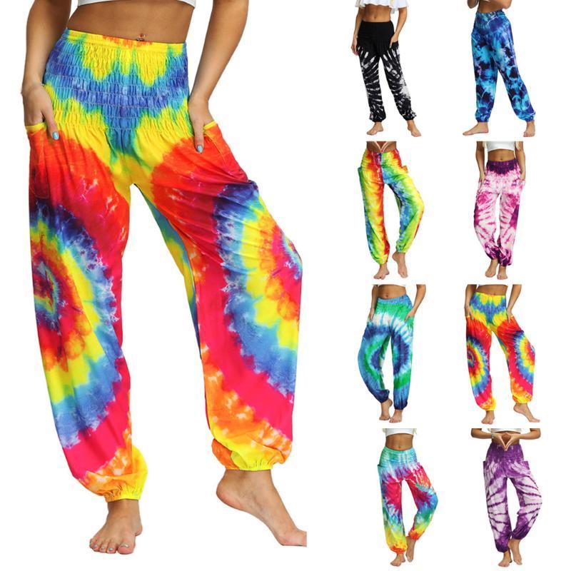 Primavera Outono Homens Mulheres Casual Yoga calças soltas Hippy Yoga calças largas Boho Aladdin Pants impressão exterior Desporto Calças